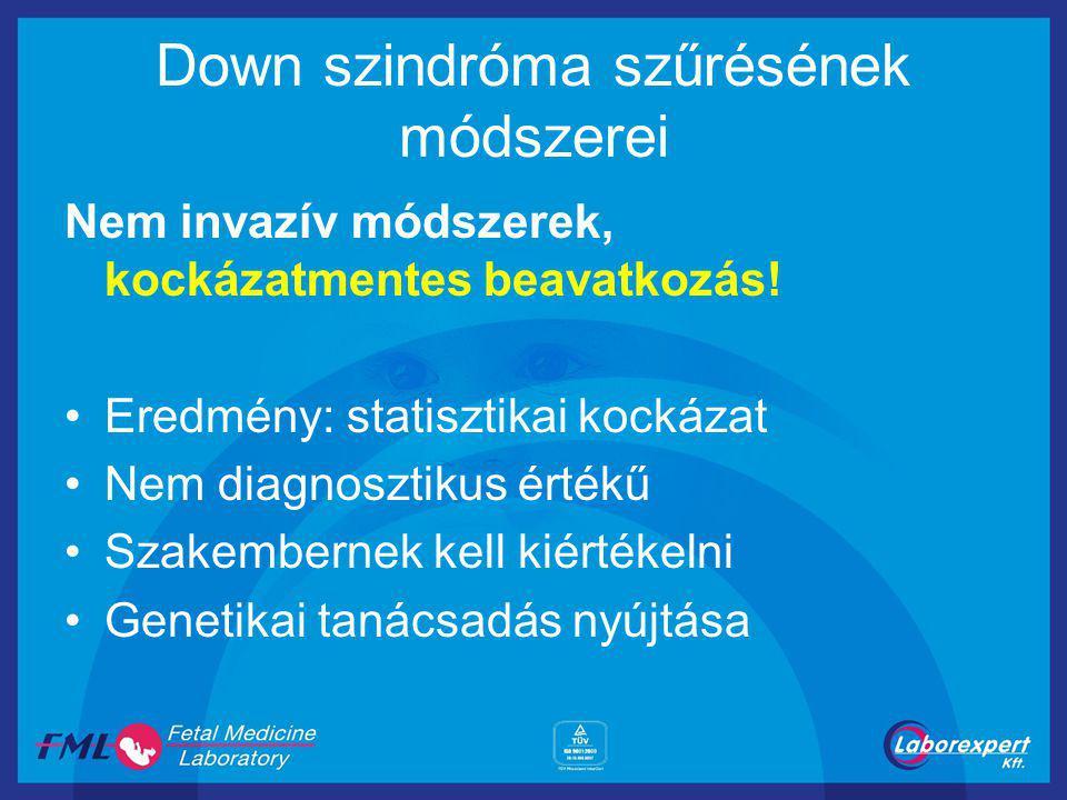 Down szindróma szűrésének módszerei Nem invazív módszerek, kockázatmentes beavatkozás! Eredmény: statisztikai kockázat Nem diagnosztikus értékű Szakem