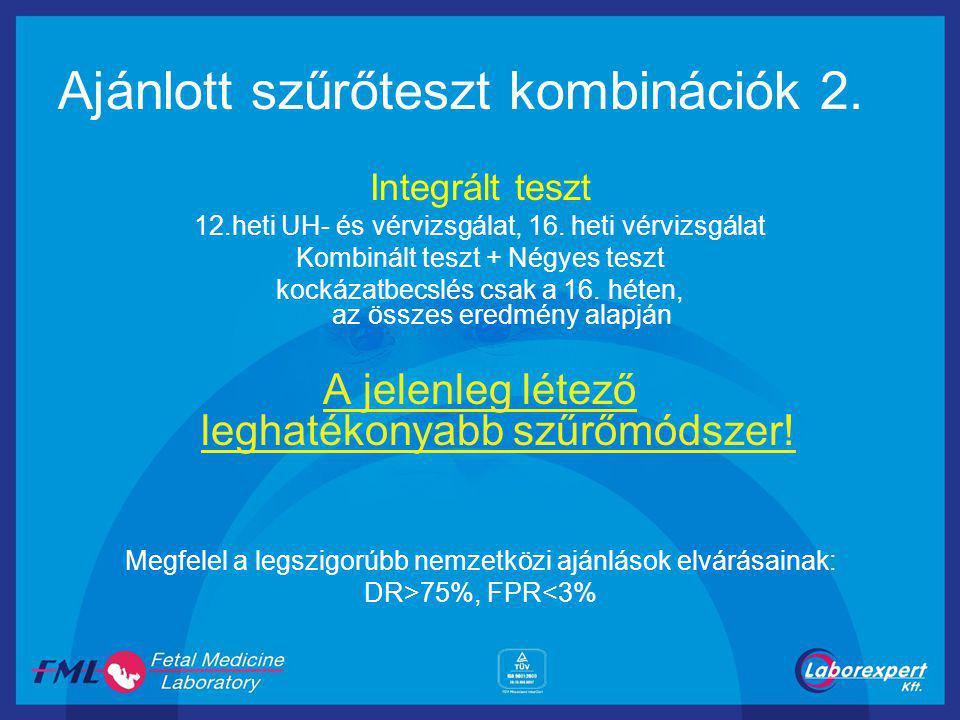 Ajánlott szűrőteszt kombinációk 2.Integrált teszt 12.heti UH- és vérvizsgálat, 16.