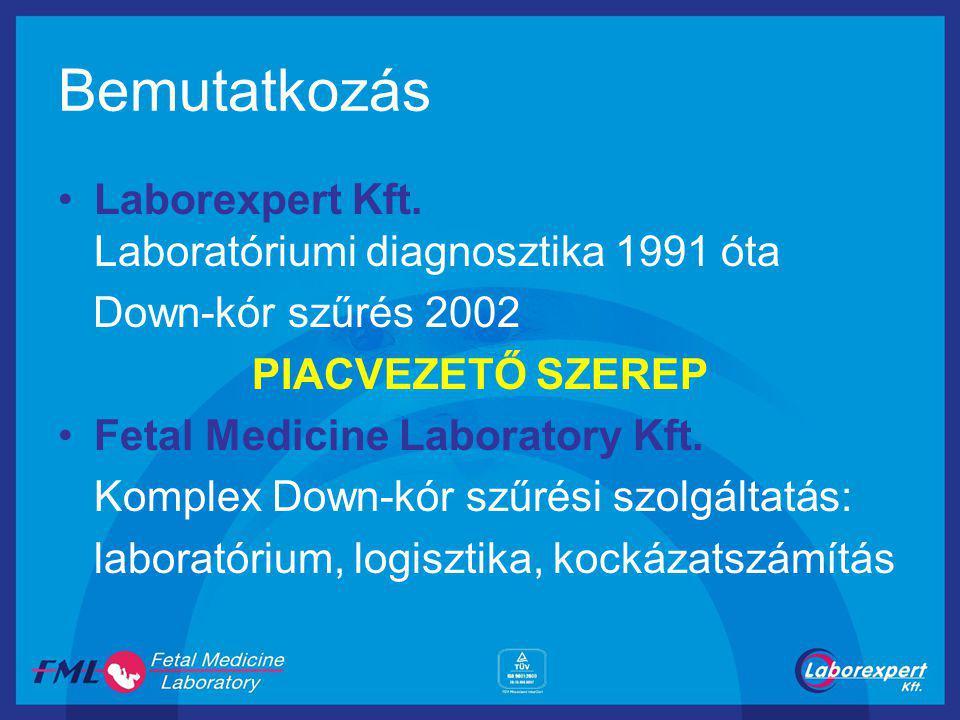 Bemutatkozás Laborexpert Kft. Laboratóriumi diagnosztika 1991 óta Down-kór szűrés 2002 PIACVEZETŐ SZEREP Fetal Medicine Laboratory Kft. Komplex Down-k