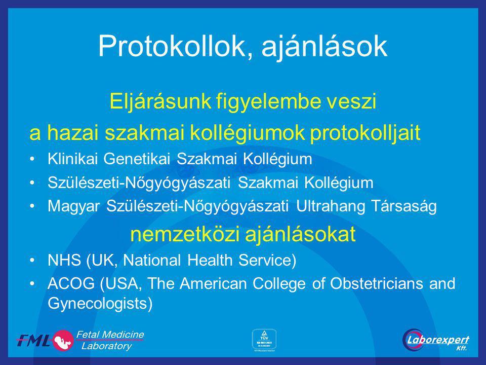 Protokollok, ajánlások Eljárásunk figyelembe veszi a hazai szakmai kollégiumok protokolljait Klinikai Genetikai Szakmai Kollégium Szülészeti-Nőgyógyászati Szakmai Kollégium Magyar Szülészeti-Nőgyógyászati Ultrahang Társaság nemzetközi ajánlásokat NHS (UK, National Health Service) ACOG (USA, The American College of Obstetricians and Gynecologists)
