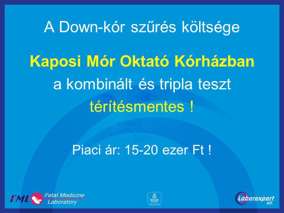 A Down-kór szűrés költsége Kaposi Mór Oktató Kórházban a kombinált és tripla teszt térítésmentes ! Piaci ár: 15-20 ezer Ft !