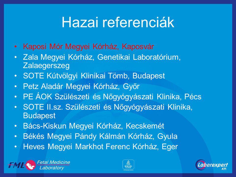 Hazai referenciák Kaposi Mór Megyei Kórház, Kaposvár Zala Megyei Kórház, Genetikai Laboratórium, Zalaegerszeg SOTE Kútvölgyi Klinikai Tömb, Budapest P
