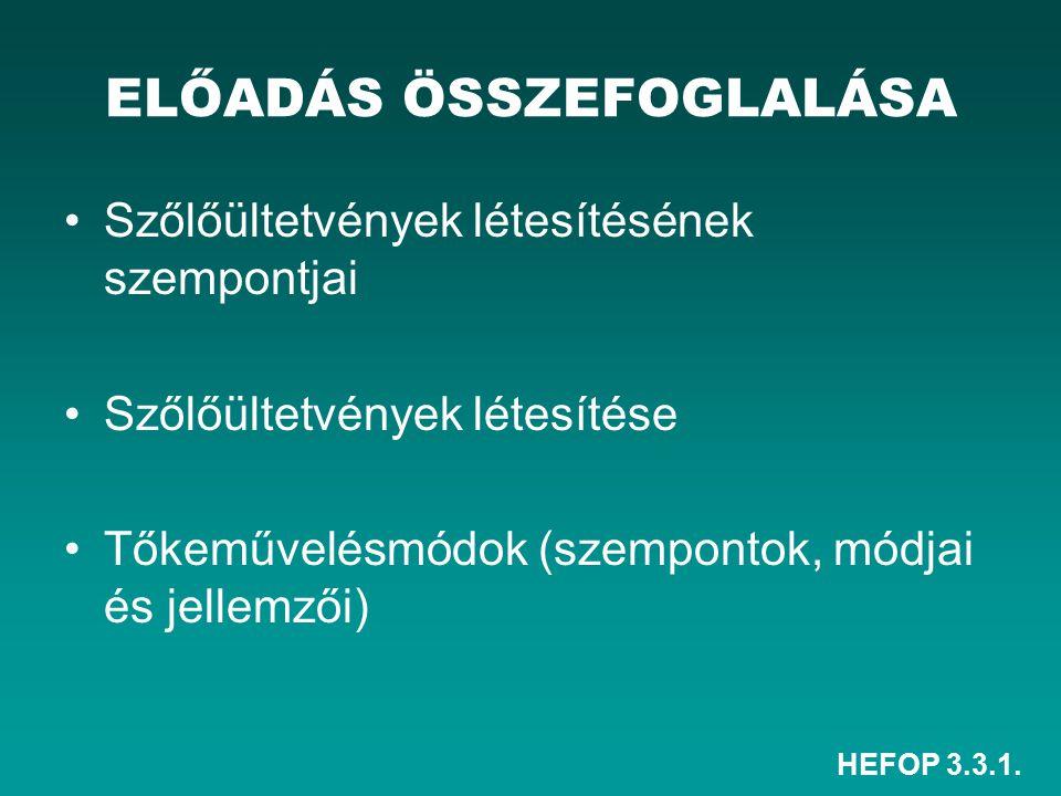 HEFOP 3.3.1. ELŐADÁS ÖSSZEFOGLALÁSA Szőlőültetvények létesítésének szempontjai Szőlőültetvények létesítése Tőkeművelésmódok (szempontok, módjai és jel