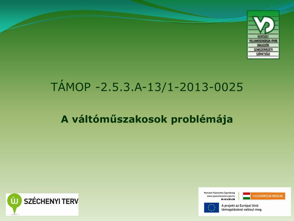 TÁMOP -2.5.3.A-13/1-2013-0025 A váltóműszakosok problémája 1