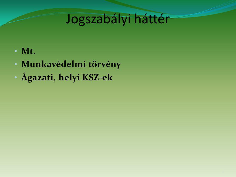 Jogszabályi háttér Mt. Munkavédelmi törvény Ágazati, helyi KSZ-ek 11