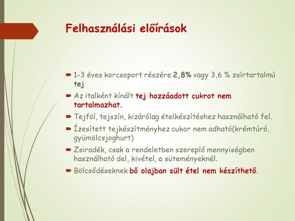 Felhasználási előírások  1-3 éves korcsoport részére 2,8% vagy 3,6 % zsírtartalmú tej  Az italként kínált tej hozzáadott cukrot nem tartalmazhat.