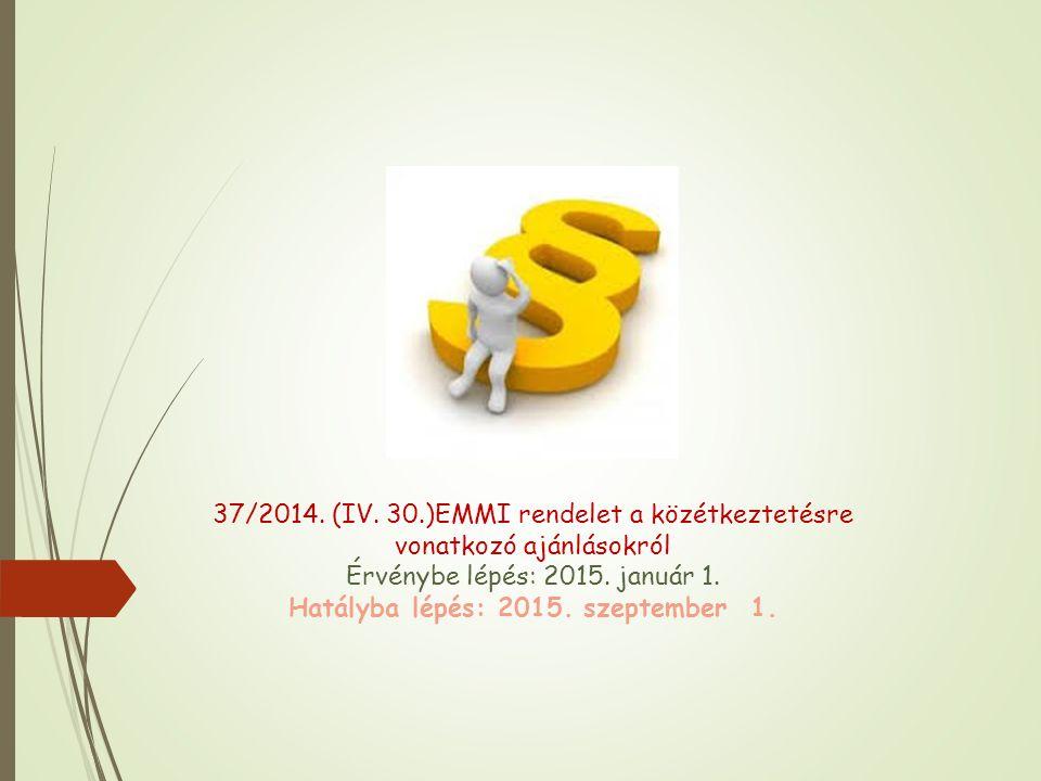 37/2014.(IV. 30.)EMMI rendelet a közétkeztetésre vonatkozó ajánlásokról Érvénybe lépés: 2015.