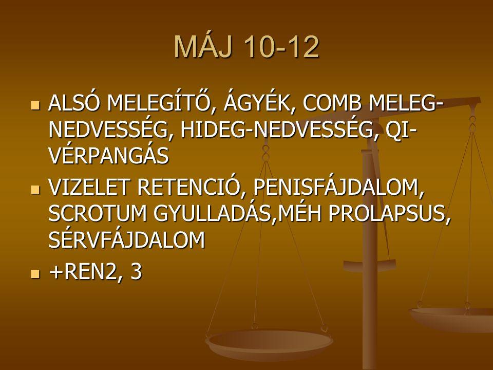 MÁJ 10-12 ALSÓ MELEGÍTŐ, ÁGYÉK, COMB MELEG- NEDVESSÉG, HIDEG-NEDVESSÉG, QI- VÉRPANGÁS ALSÓ MELEGÍTŐ, ÁGYÉK, COMB MELEG- NEDVESSÉG, HIDEG-NEDVESSÉG, QI