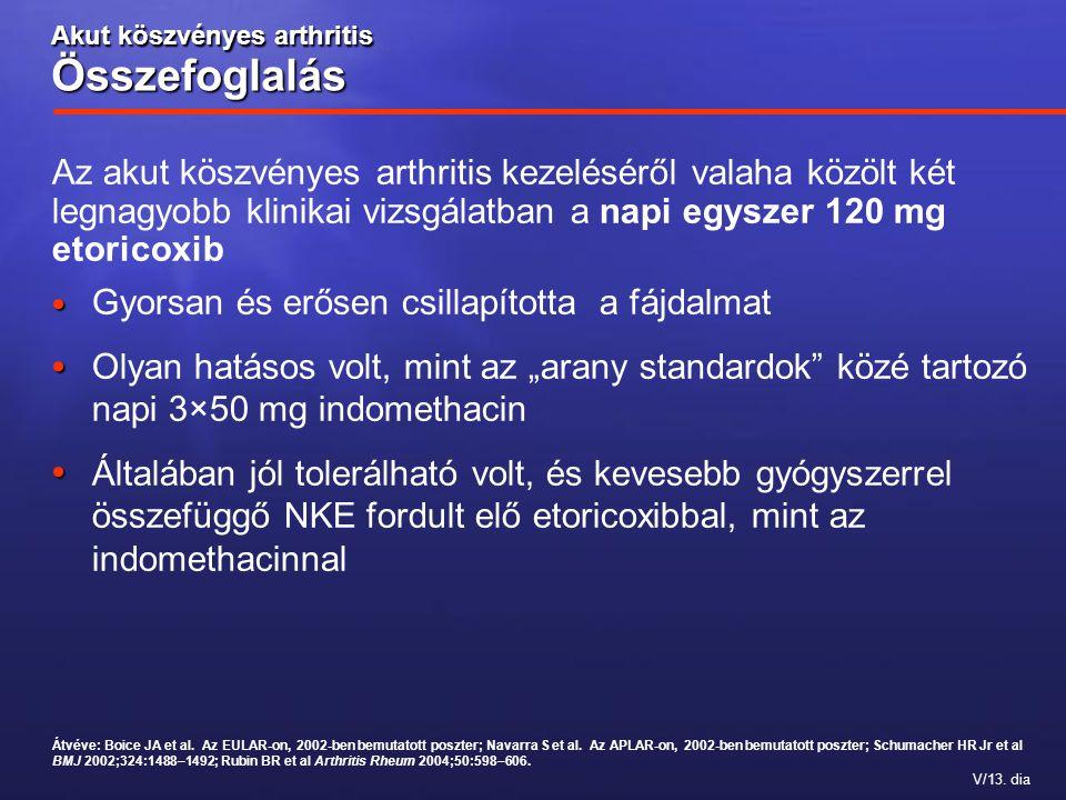 V/13. dia Az akut köszvényes arthritis kezeléséről valaha közölt két legnagyobb klinikai vizsgálatban a napi egyszer 120 mg etoricoxib Akut köszvényes
