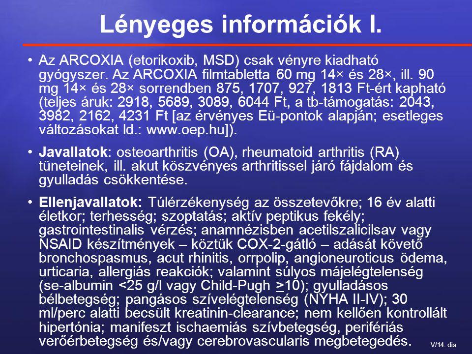 V/14. dia Lényeges információk I. Az ARCOXIA (etorikoxib, MSD) csak vényre kiadható gyógyszer. Az ARCOXIA filmtabletta 60 mg 14× és 28×, ill. 90 mg 14