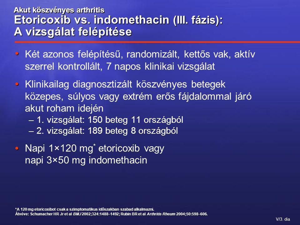 V/3. dia Akut köszvényes arthritis Etoricoxib vs. indomethacin (III. fázis) : A vizsgálat felépítése Két azonos felépítésű, randomizált, kettős vak, a