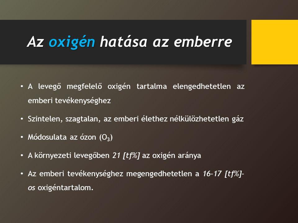 Az oxigén hatása az emberre A levegő megfelelő oxigén tartalma elengedhetetlen az emberi tevékenységhez Szintelen, szagtalan, az emberi élethez nélkül