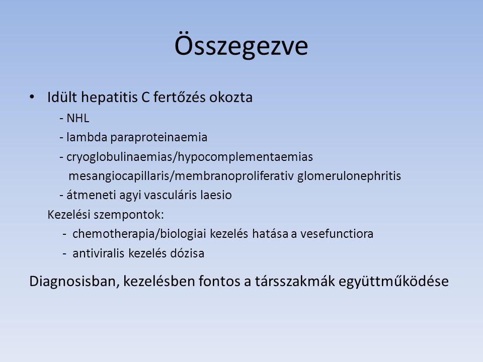 Összegezve Idült hepatitis C fertőzés okozta - NHL - lambda paraproteinaemia - cryoglobulinaemias/hypocomplementaemias mesangiocapillaris/membranoprol