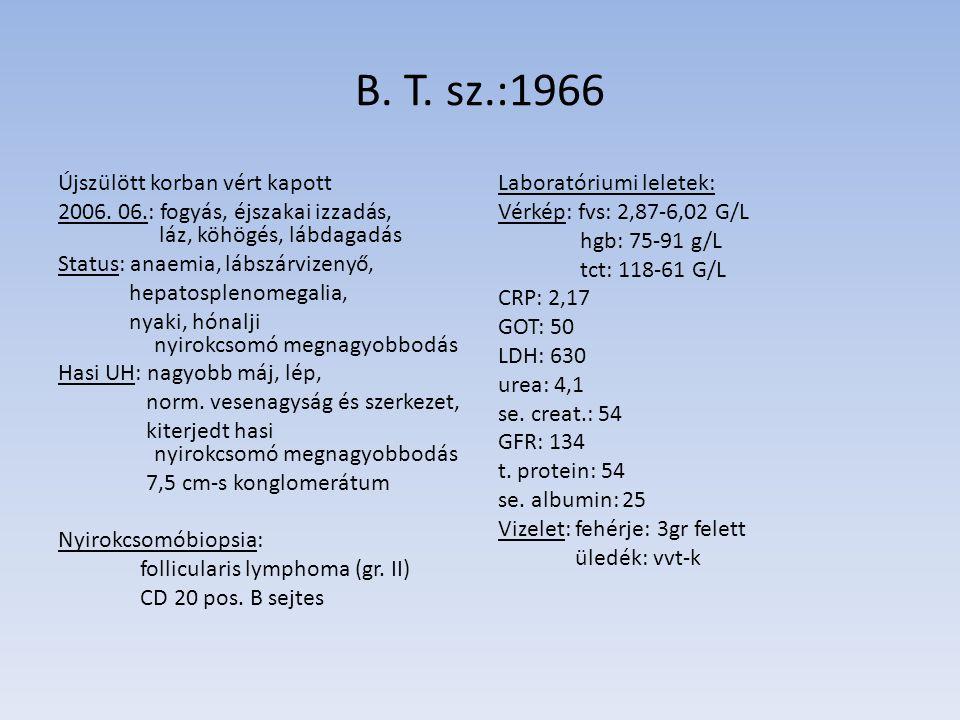 B. T. sz.:1966 Újszülött korban vért kapott 2006. 06.: fogyás, éjszakai izzadás, láz, köhögés, lábdagadás Status: anaemia, lábszárvizenyő, hepatosplen