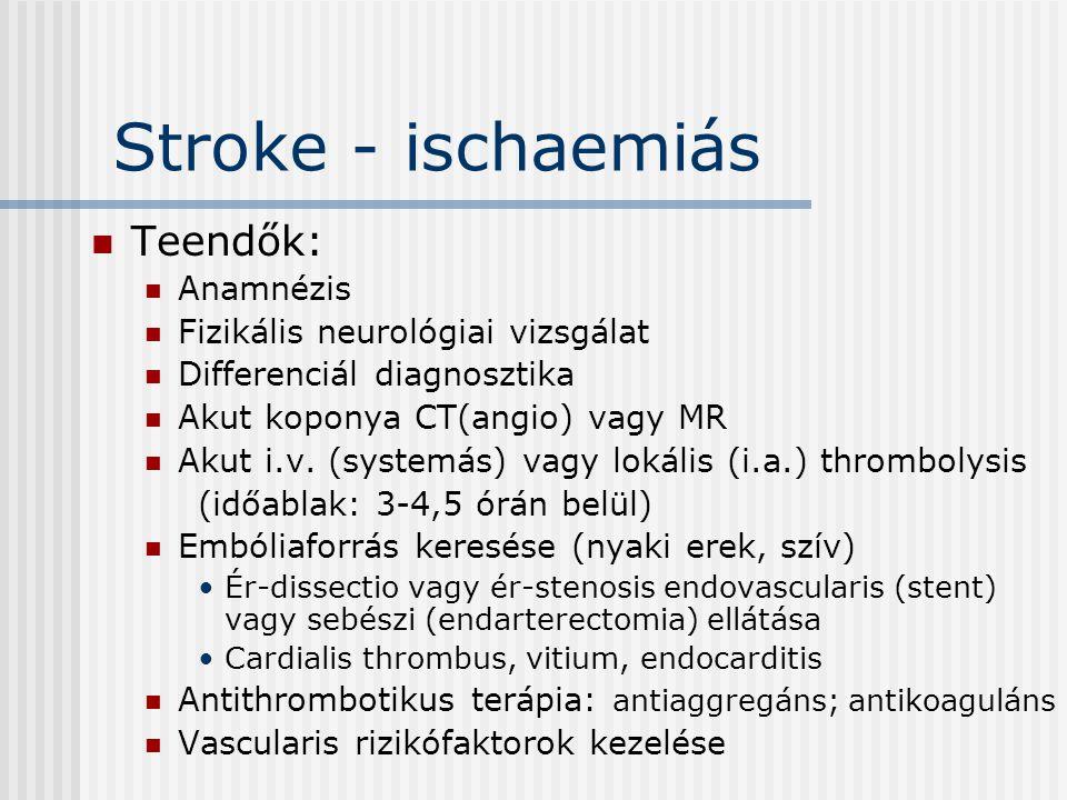 Stroke - ischaemiás Teendők: Anamnézis Fizikális neurológiai vizsgálat Differenciál diagnosztika Akut koponya CT(angio) vagy MR Akut i.v. (systemás) v