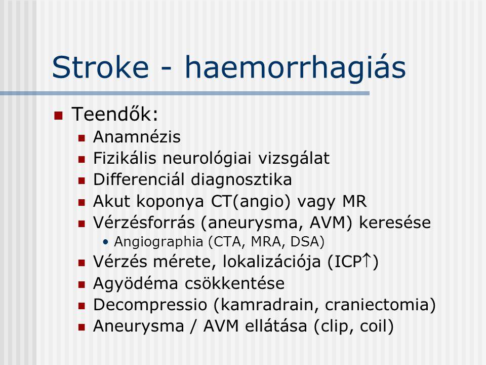 Stroke - haemorrhagiás Teendők: Anamnézis Fizikális neurológiai vizsgálat Differenciál diagnosztika Akut koponya CT(angio) vagy MR Vérzésforrás (aneur