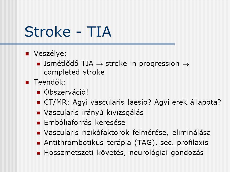 Stroke - TIA Veszélye: Ismétlődő TIA  stroke in progression  completed stroke Teendők: Obszerváció! CT/MR: Agyi vascularis laesio? Agyi erek állapot