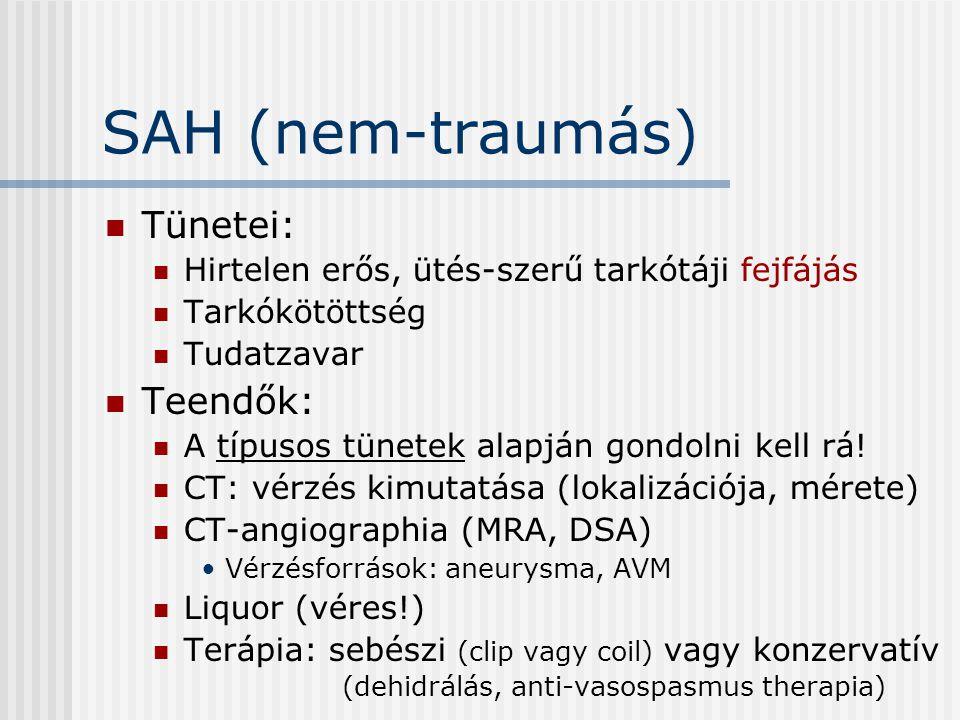 SAH (nem-traumás) Tünetei: Hirtelen erős, ütés-szerű tarkótáji fejfájás Tarkókötöttség Tudatzavar Teendők: A típusos tünetek alapján gondolni kell rá!