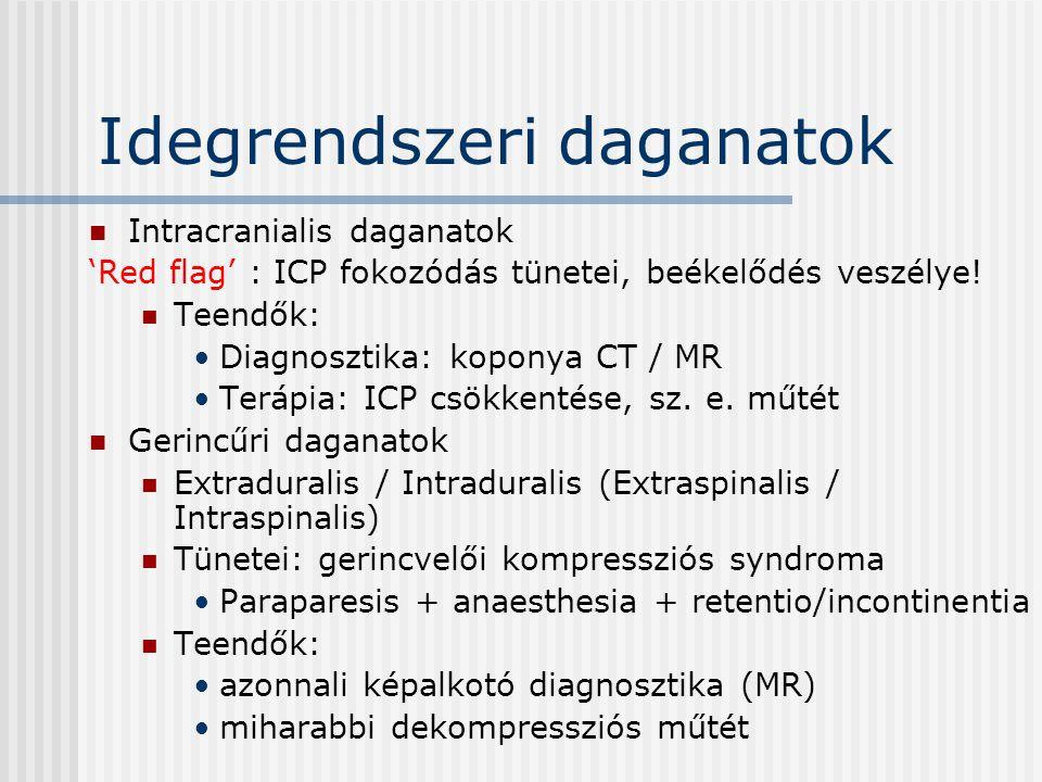Idegrendszeri daganatok Intracranialis daganatok 'Red flag' : ICP fokozódás tünetei, beékelődés veszélye! Teendők: Diagnosztika: koponya CT / MR Teráp