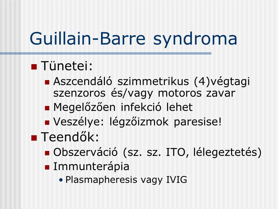 Guillain-Barre syndroma Tünetei: Aszcendáló szimmetrikus (4)végtagi szenzoros és/vagy motoros zavar Megelőzően infekció lehet Veszélye: légzőizmok par