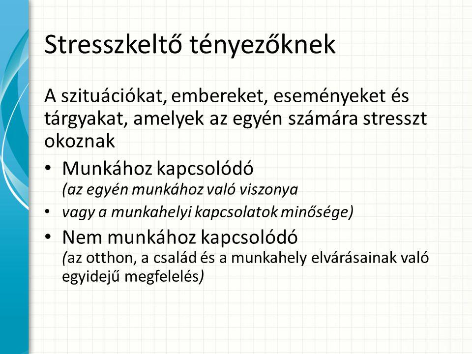 Stresszkeltő tényezőknek A szituációkat, embereket, eseményeket és tárgyakat, amelyek az egyén számára stresszt okoznak Munkához kapcsolódó (az egyén