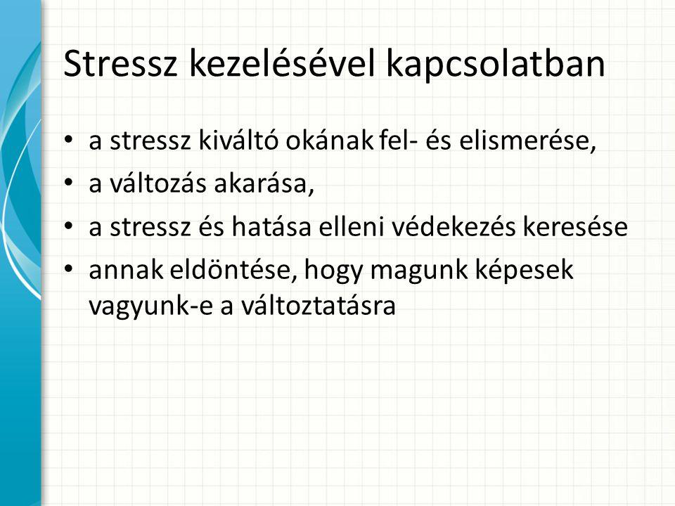 Stressz kezelésével kapcsolatban a stressz kiváltó okának fel- és elismerése, a változás akarása, a stressz és hatása elleni védekezés keresése annak