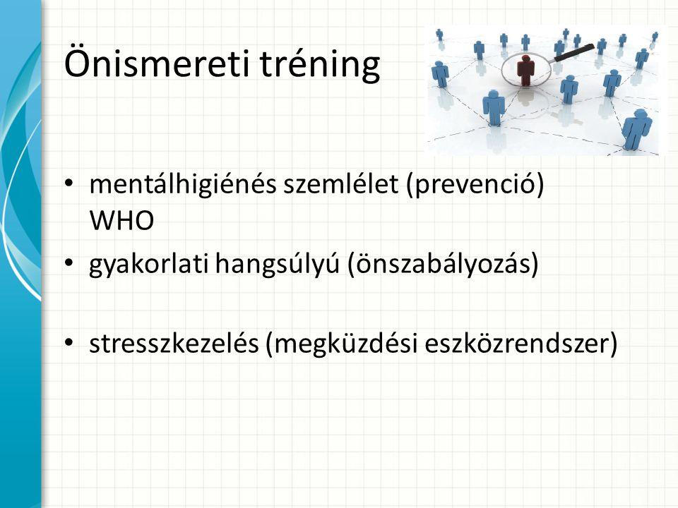 Önismereti tréning mentálhigiénés szemlélet (prevenció) WHO gyakorlati hangsúlyú (önszabályozás) stresszkezelés (megküzdési eszközrendszer)