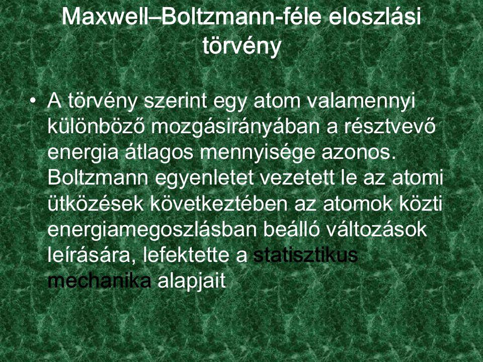 Maxwell–Boltzmann-féle eloszlási törvény A törvény szerint egy atom valamennyi különböző mozgásirányában a résztvevő energia átlagos mennyisége azonos.