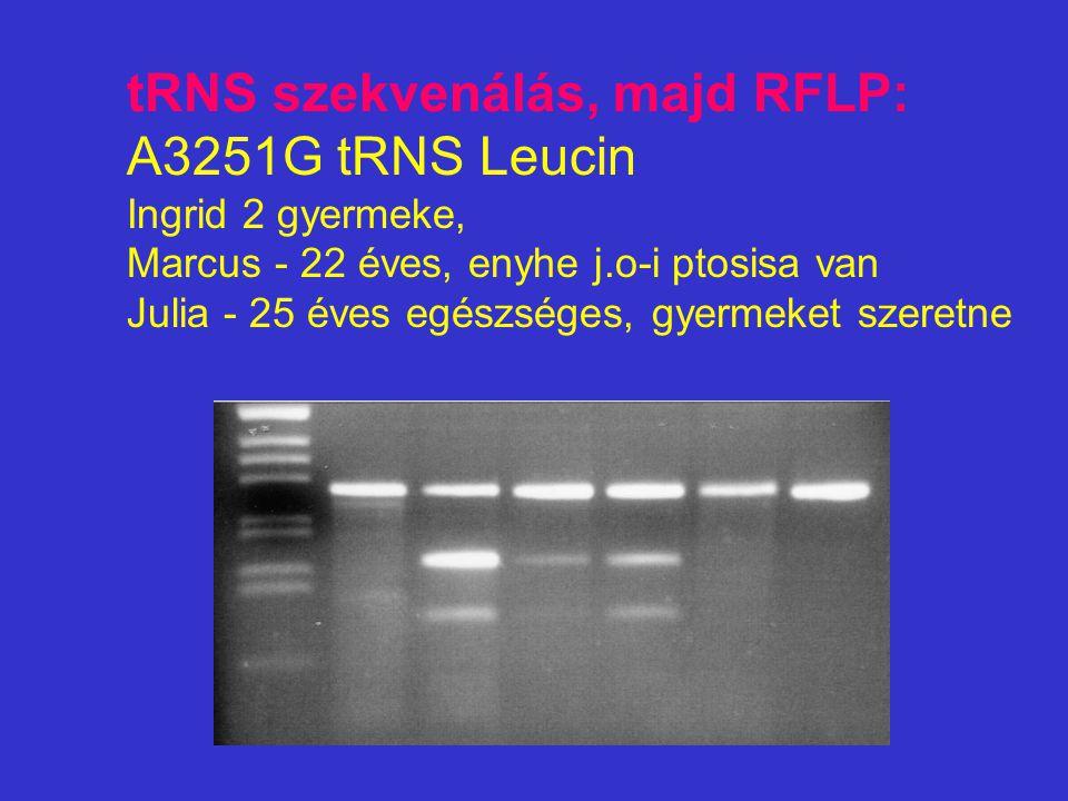 tRNS szekvenálás, majd RFLP: A3251G tRNS Leucin Ingrid 2 gyermeke, Marcus - 22 éves, enyhe j.o-i ptosisa van Julia - 25 éves egészséges, gyermeket szeretne
