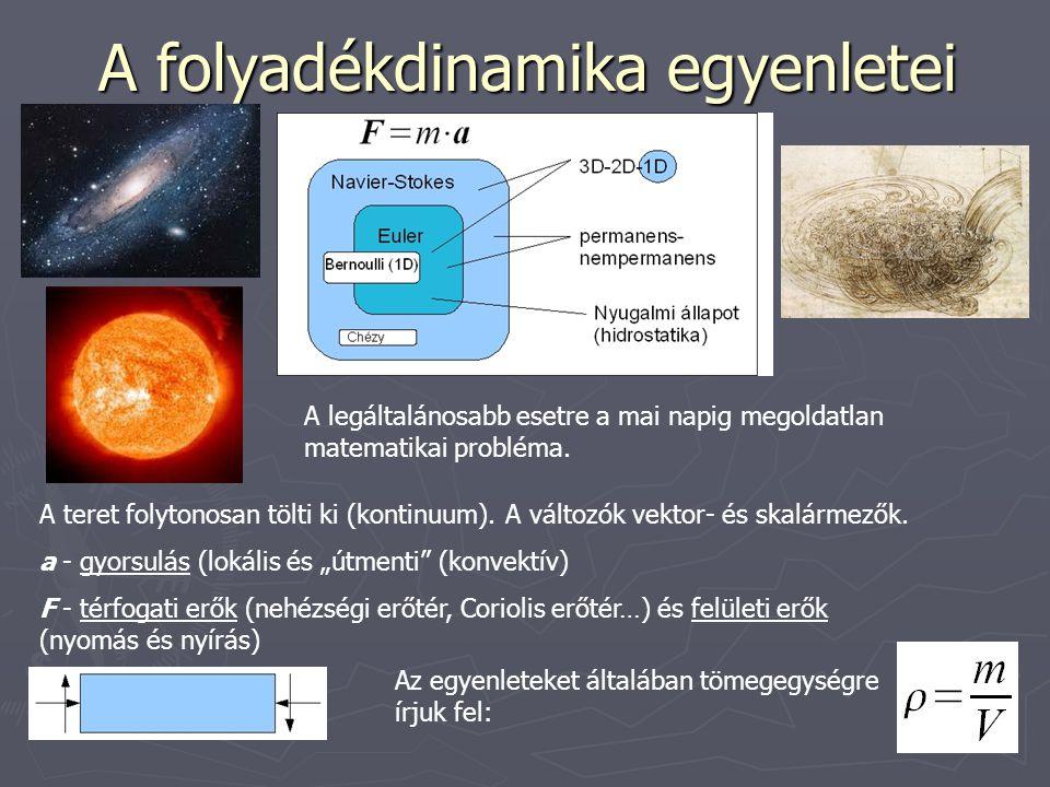 A folyadékdinamika egyenletei A teret folytonosan tölti ki (kontinuum).