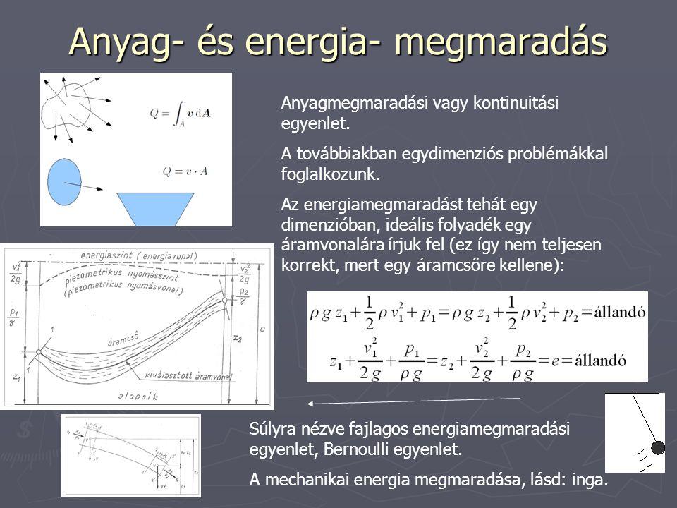 Anyag- és energia- megmaradás Anyagmegmaradási vagy kontinuitási egyenlet.