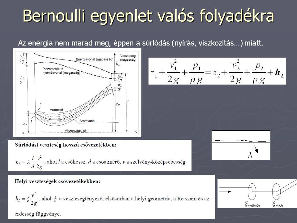 Bernoulli egyenlet valós folyadékra Az energia nem marad meg, éppen a súrlódás (nyírás, viszkozitás…) miatt.