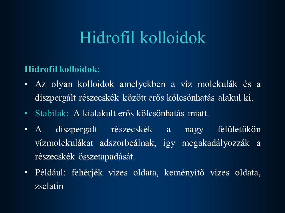 Hidrofil kolloidok Hidrofil kolloidok: Az olyan kolloidok amelyekben a víz molekulák és a diszpergált részecskék között erős kölcsönhatás alakul ki.