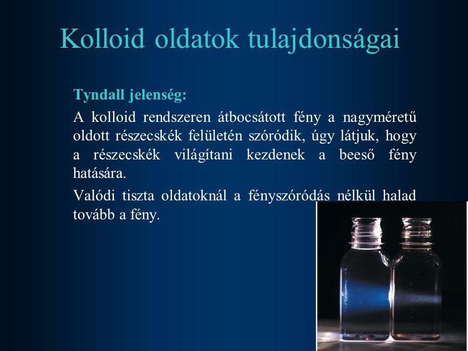 Kolloid oldatok tulajdonságai Tyndall jelenség: A kolloid rendszeren átbocsátott fény a nagyméretű oldott részecskék felületén szóródik, úgy látjuk, h
