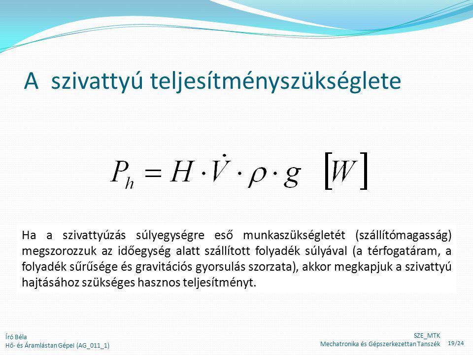 A szivattyú teljesítményszükséglete Író Béla Hő- és Áramlástan Gépei (AG_011_1) Ha a szivattyúzás súlyegységre eső munkaszükségletét (szállítómagasság