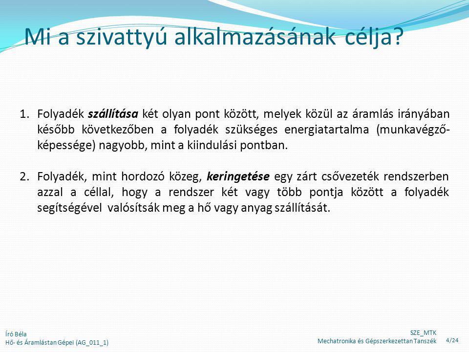 Író Béla Hő- és Áramlástan Gépei (AG_011_1) Folyadék szállítása A hely, ahonnan a folyadékot el kell szállítani.