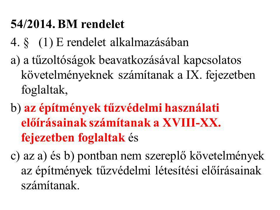 54/2014. BM rendelet 4. §(1) E rendelet alkalmazásában a) a tűzoltóságok beavatkozásával kapcsolatos követelményeknek számítanak a IX. fejezetben fogl