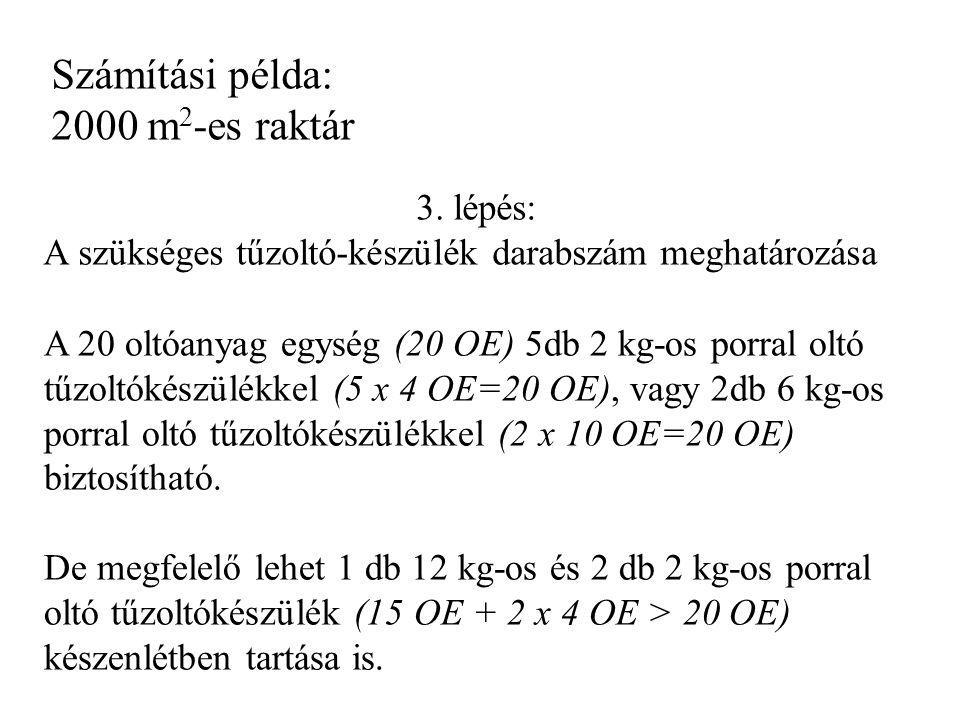 Számítási példa: 2000 m 2 -es raktár 3. lépés: A szükséges tűzoltó-készülék darabszám meghatározása A 20 oltóanyag egység (20 OE) 5db 2 kg-os porral o