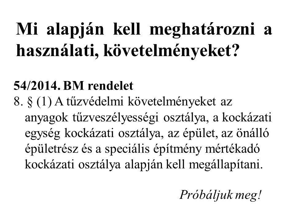 Mi alapján kell meghatározni a használati, követelményeket? 54/2014. BM rendelet 8. § (1) A tűzvédelmi követelményeket az anyagok tűzveszélyességi osz