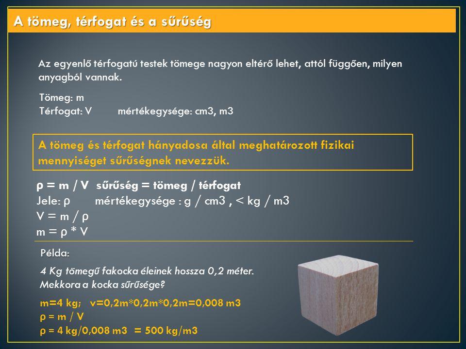 Tömeg: m Térfogat: V mértékegysége: cm3, m3 A tömeg, térfogat és a sűrűség Az egyenlő térfogatú testek tömege nagyon eltérő lehet, attól függően, mily
