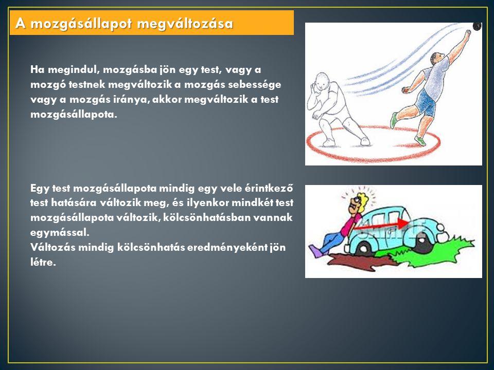 Ha megindul, mozgásba jön egy test, vagy a mozgó testnek megváltozik a mozgás sebessége vagy a mozgás iránya, akkor megváltozik a test mozgásállapota.