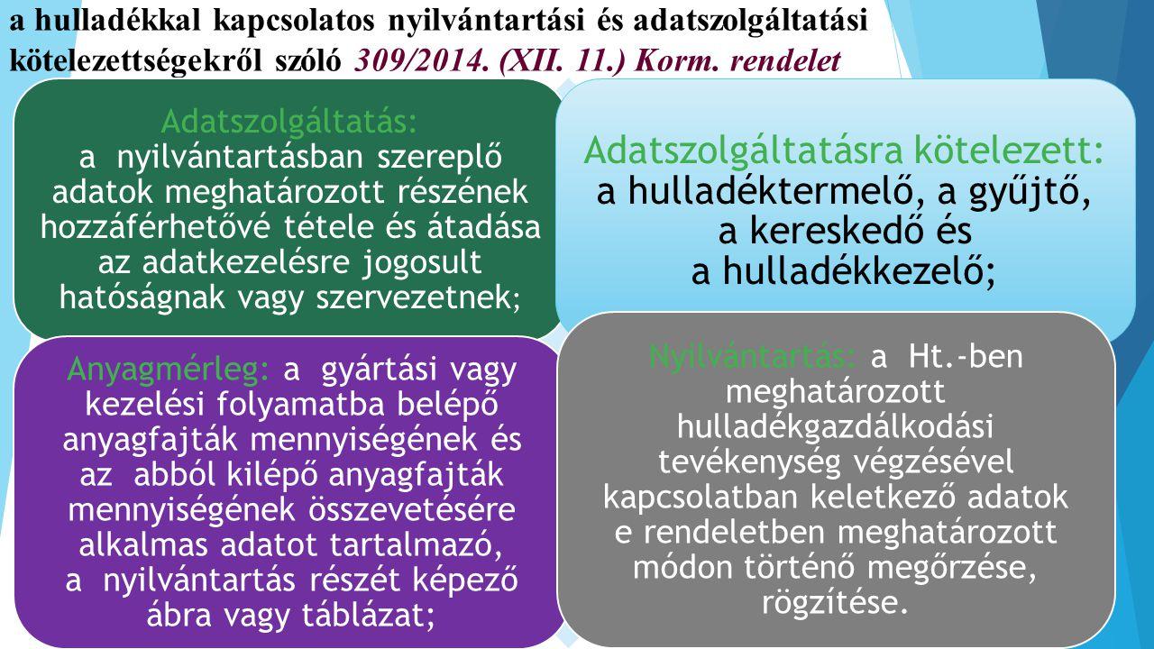 a hulladékkal kapcsolatos nyilvántartási és adatszolgáltatási kötelezettségekről szóló 309/2014. (XII. 11.) Korm. rendelet Adatszolgáltatás: a nyilván