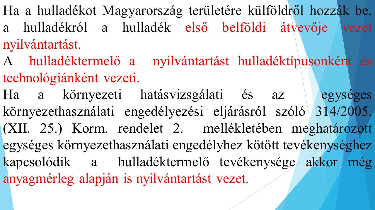 Ha a hulladékot Magyarország területére külföldről hozzák be, a hulladékról a hulladék első belföldi átvevője vezet nyilvántartást. A hulladéktermelő