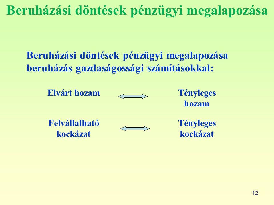 Beruházási döntések pénzügyi megalapozása 12 Beruházási döntések pénzügyi megalapozása beruházás gazdaságossági számításokkal: Elvárt hozamTényleges h