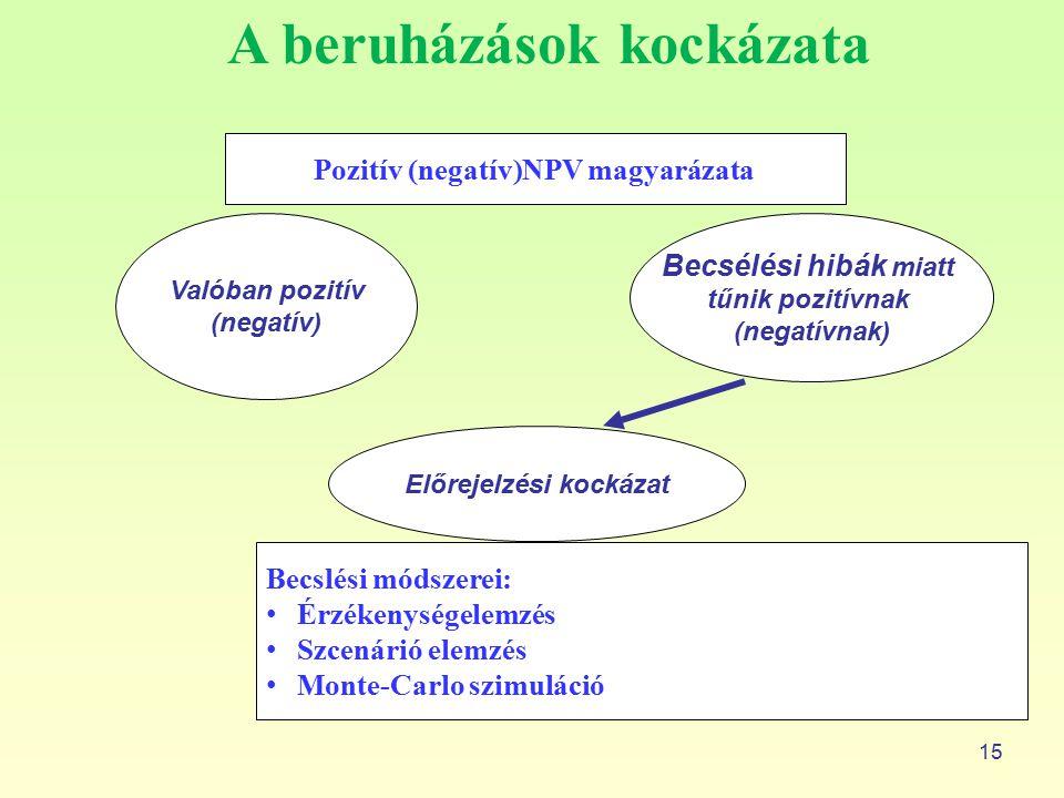 A beruházások kockázata 15 Pozitív (negatív)NPV magyarázata Valóban pozitív (negatív) Becsélési hibák miatt tűnik pozitívnak (negatívnak) Előrejelzési