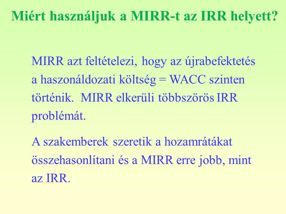 Miért használjuk a MIRR-t az IRR helyett? MIRR azt feltételezi, hogy az újrabefektetés a haszonáldozati költség = WACC szinten történik. MIRR elkerüli