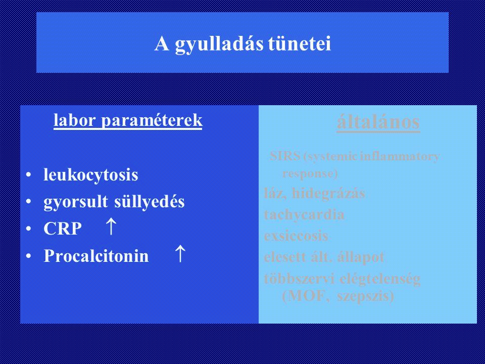 A gyulladás tünetei labor paraméterek leukocytosis gyorsult süllyedés CRP  Procalcitonin  általános SIRS (systemic inflammatory response) láz, hideg