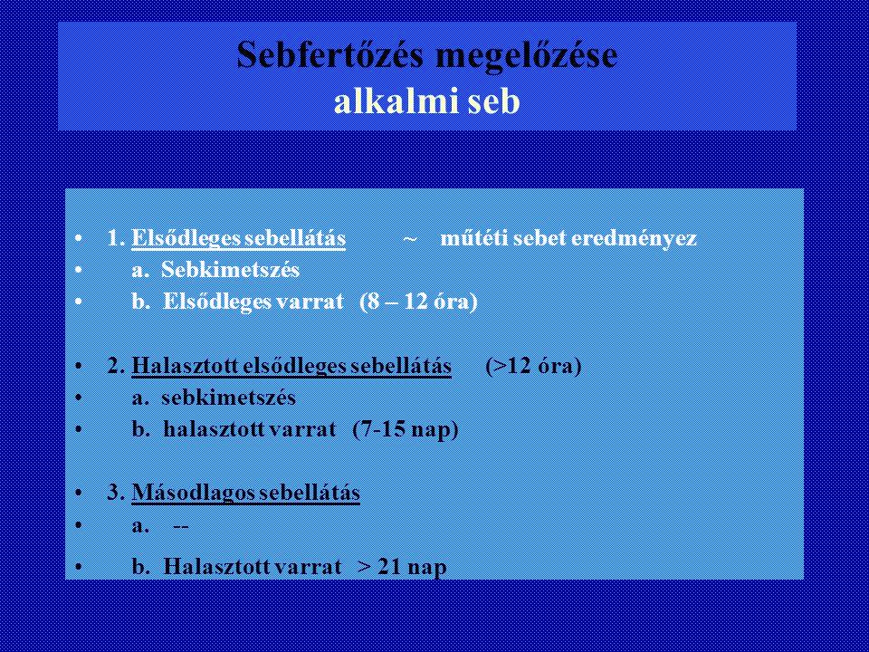 Sebfertőzés megelőzése alkalmi seb 1. Elsődleges sebellátás ~ műtéti sebet eredményez a. Sebkimetszés b. Elsődleges varrat (8 – 12 óra) 2. Halasztott