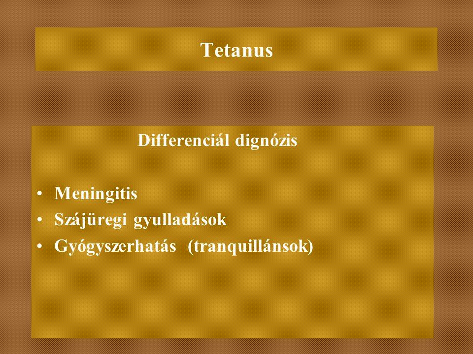 Tetanus Differenciál dignózis Meningitis Szájüregi gyulladások Gyógyszerhatás (tranquillánsok)