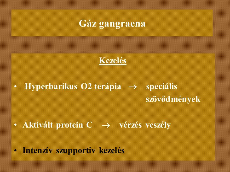 Gáz gangraena Kezelés Hyperbarikus O2 terápia  speciális szövődmények Aktivált protein C  vérzés veszély Intenzív szupportiv kezelés